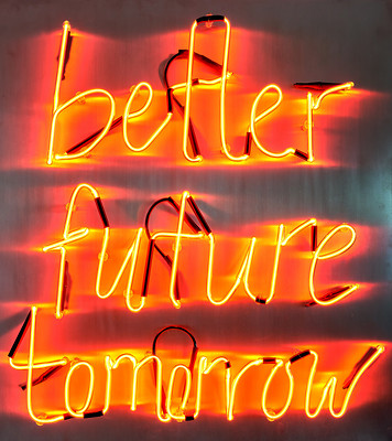 better future tomorrow, 2019 (ed. 5+1; 88 x 80 x 7 cm; Neonschrift, Kabel, Aluminium) – Foto: Tim Hufnagl